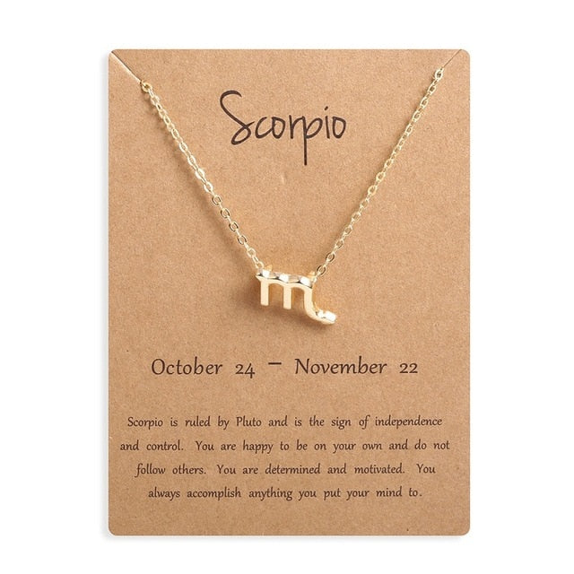 Ailodo Women Zodiac Sign Gold Pendant-Jewelry & Watches-humblys.com