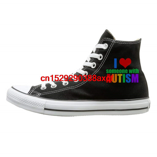 Unisex Classic High-Top Lace Up Canvas Shoe,I Love Someone With Autism Canvas Sneaker For Men Women-humblys.com