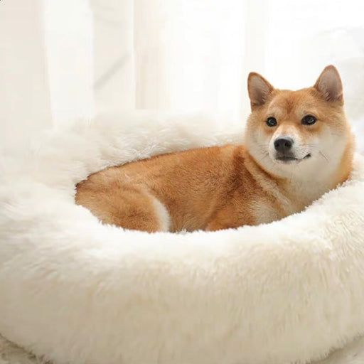 40-100cm Soft Warm Round Pet Dog Bed Comfortable Calming Pet Bed Dog Cushion Mat Dog Cat Washable Long Plush Kennel Donut Bed-humblys.com