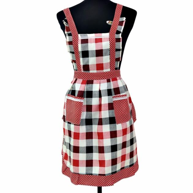 Woman Cooking Apron Lattice Printing Princess Apron Dress Thicken Women Cotton Bib with Pockets Ladies Pinafore House Supplies-Kitchen-humblys.com