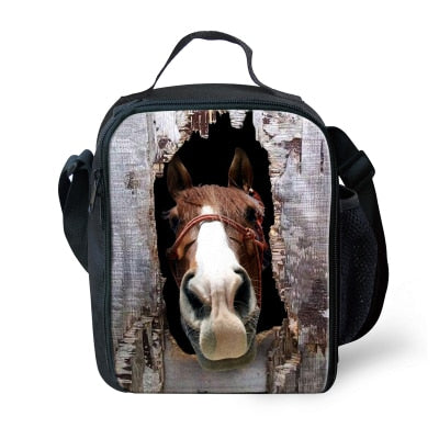 Insulated Thermal Picnic Lunch Bag for Women Keep Warm Kids Animal Horse Lunchbags Bolsa Merienda Boys Food Bag Lunchbox-school-humblys.com
