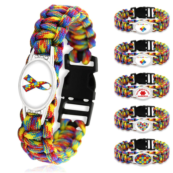 Puzzle Piece Autism Awareness Hope Colorful 25*18mm Glass Cabochon Outdoor Survival Paracord Charm Bracelets Men Women Jewelry-humblys.com