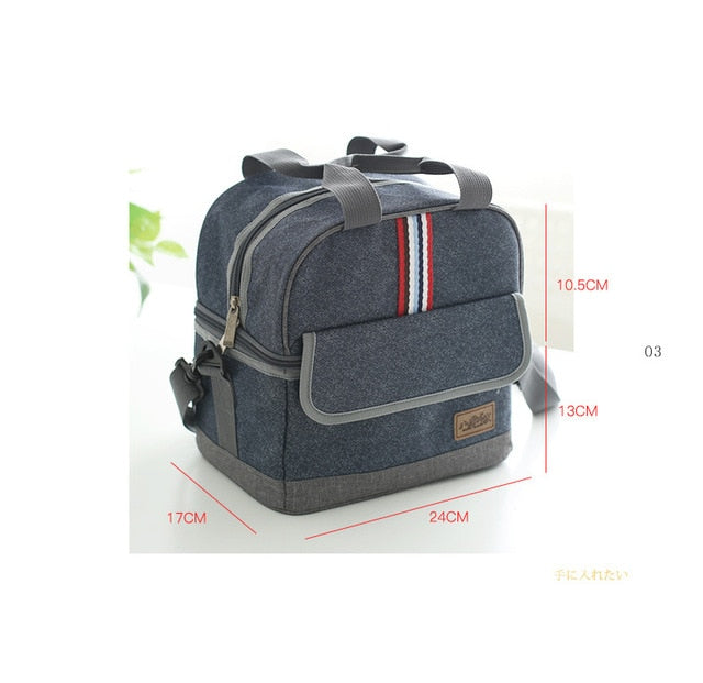 new Quality denim lunch bag thermal food bag casual insulated lunch box picnic bag thermo cooler food for kids women or men-school-humblys.com