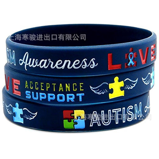 1 PCS Medical alert Autism Awareness silicone rubber bracelet wristband shipping 2019-humblys.com