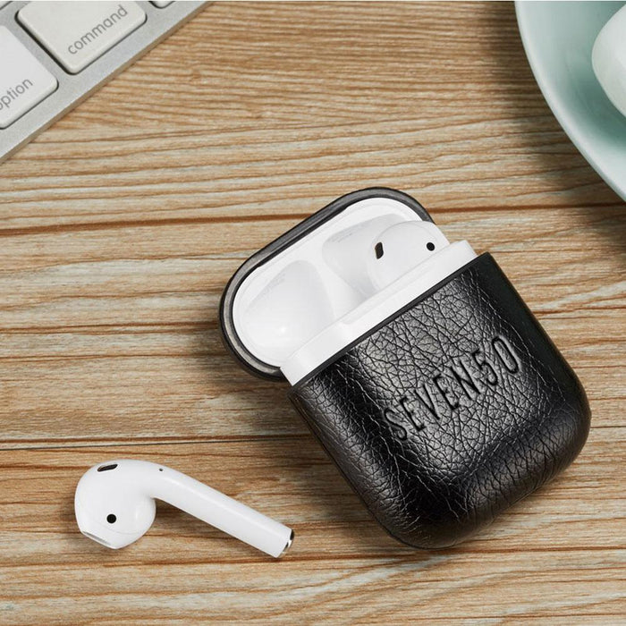 SEVEN50 Black Leather AirPods Case With Hook-Cell Accessories-humblys.com