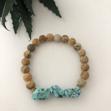 Load image into Gallery viewer, Jasper & Turquoise Magnesite Beaded Bracelet