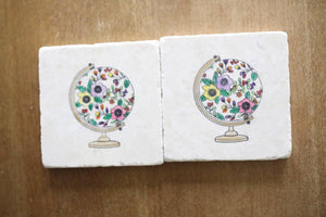 Floral Globe Marble Coasters- Set of 4