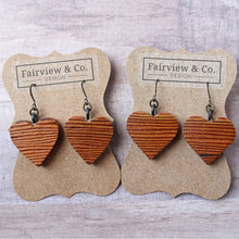Load image into Gallery viewer, Vintage Barn Wood Small Heart Earrings