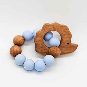 SILICONE AND BEECH WOOD TEETHING RING - BABY BLUE WITH HEDGE HOG ATTACHMENT
