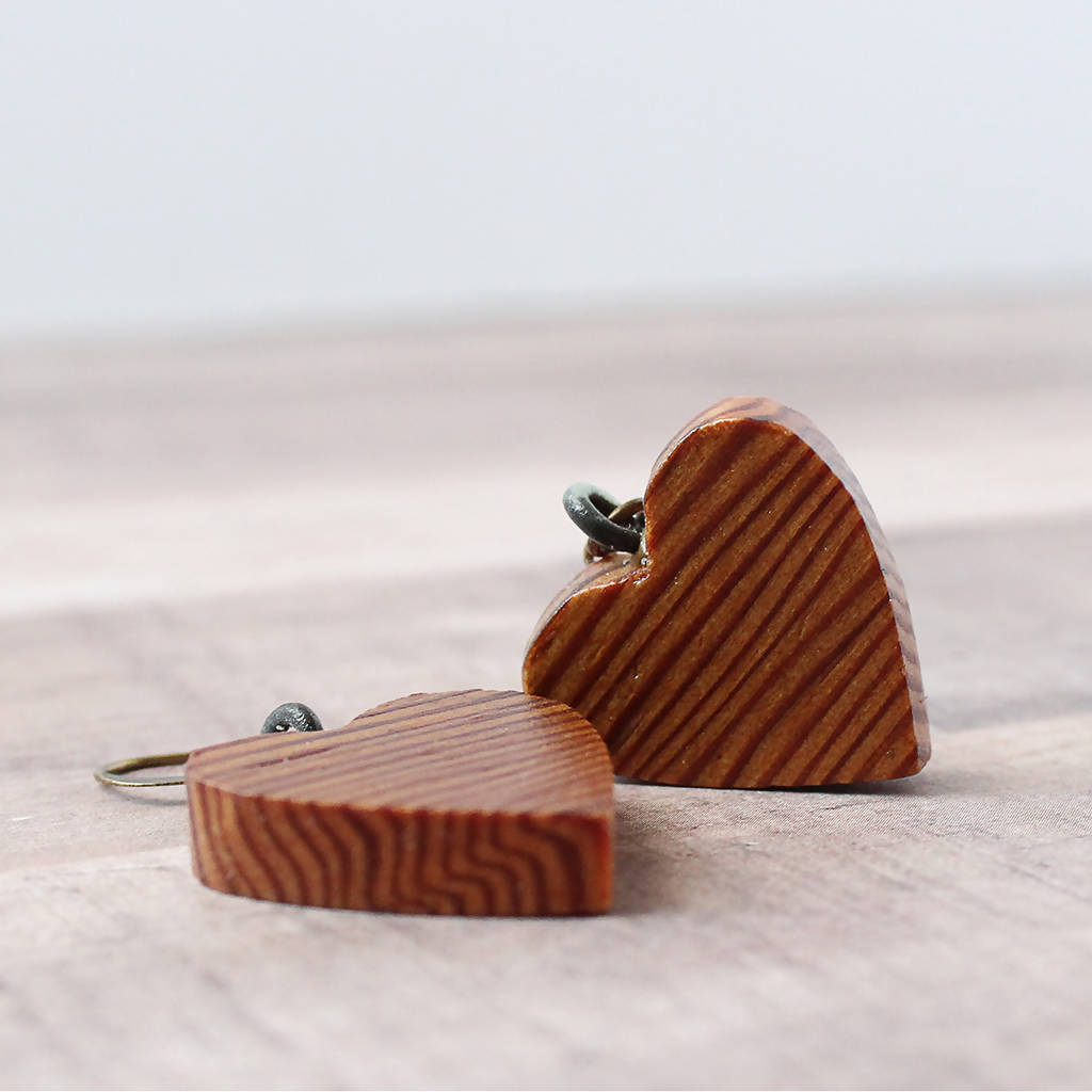 Vintage Barn Wood Small Heart Earrings