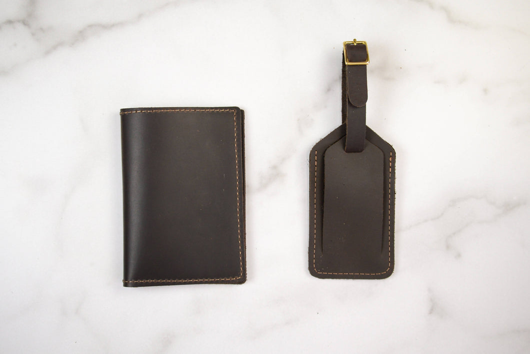 Leather Passport Holder + Luggage Tag Set