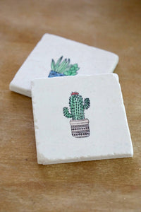 Painted Cactus Marble Coasters- Set of 4