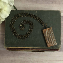 Load image into Gallery viewer, Vintage Barn Wood Large Rectangle Necklace