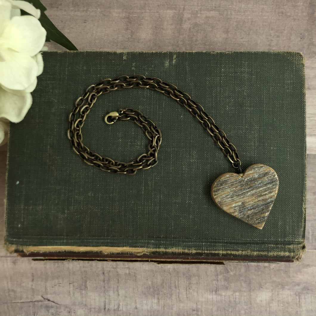 Vintage Barn Wood Medium Heart Necklace