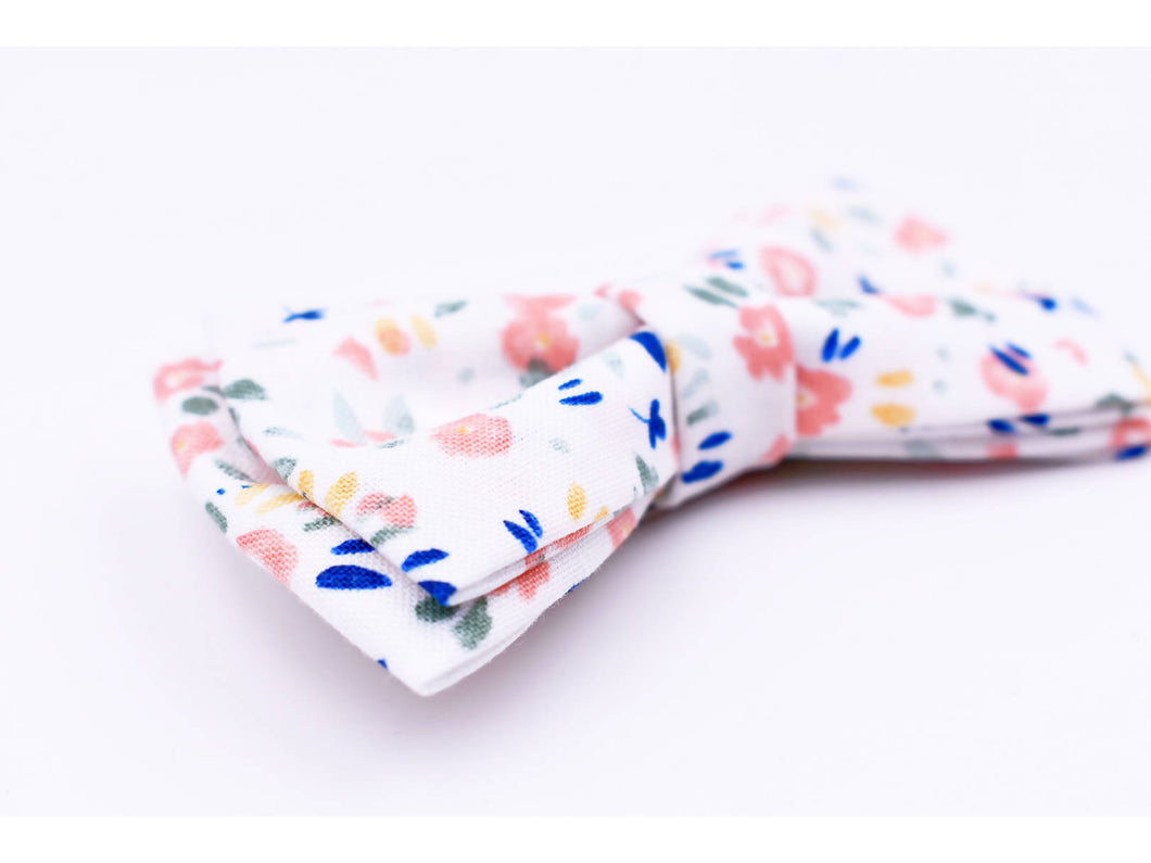 Spring floral boys clip on bow tie