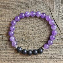 Load image into Gallery viewer, Amethyst Aromatherapy Essential Oil Diffuser Bracelet (8mm beads)