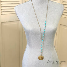 "Load image into Gallery viewer, 34"" Turquoise Howlite Lariat Necklace- Sara Necklace"