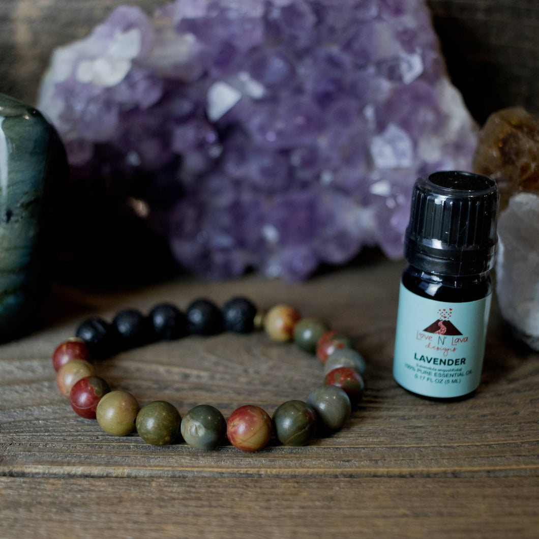 Men's Picasso Jasper Aromatherapy Essential Oil Diffuser Bracelet (10mm beads)
