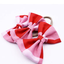 Load image into Gallery viewer, Red, white and pink plaid hair bow