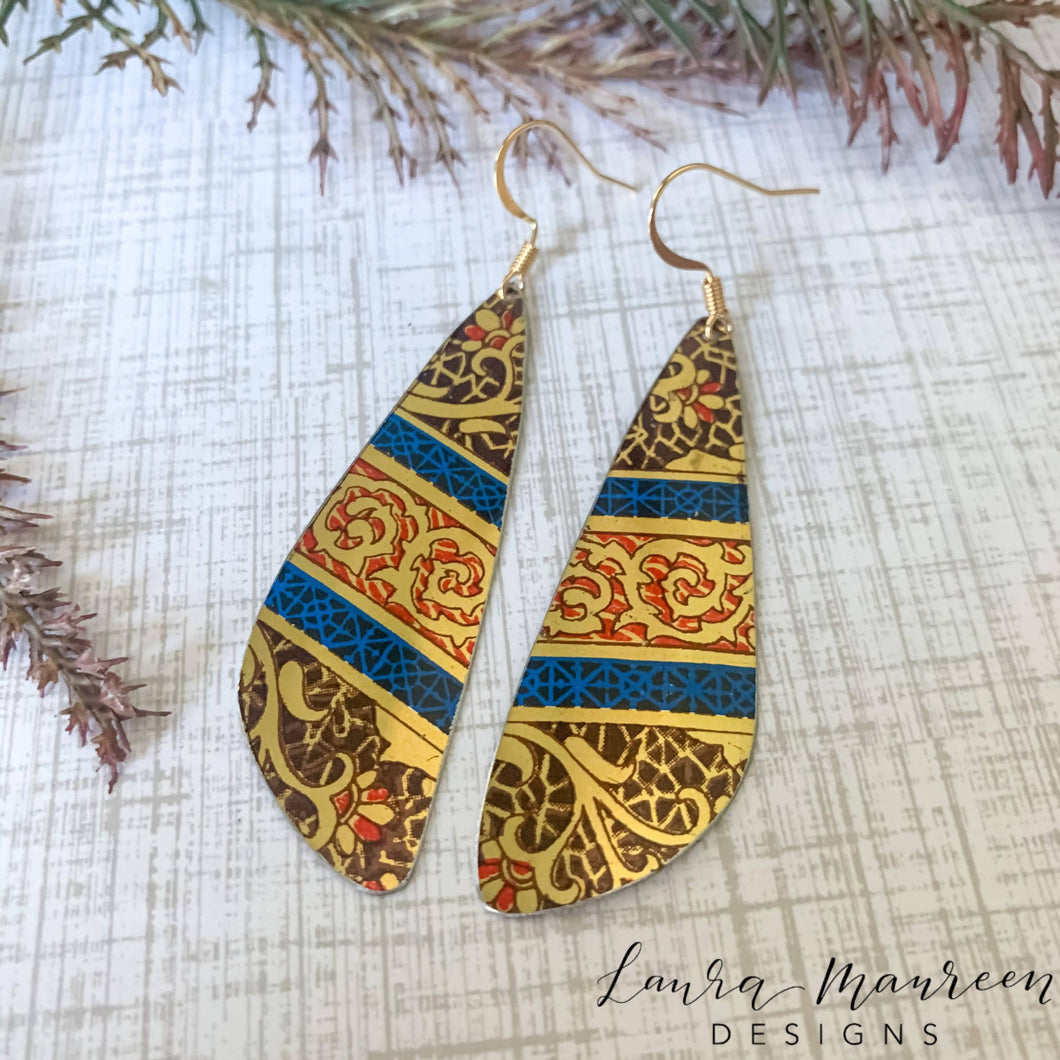 Recycled Tin Earrings- Royal 2