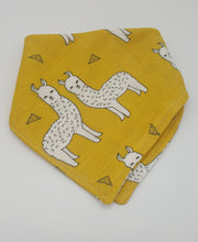 Load image into Gallery viewer, Yellow Llama Double Gauze Bandana Scarf Bib