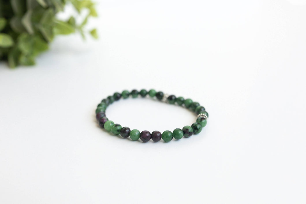 Ruby in Zoisite Skinny Stacker Gemstone Bracelet