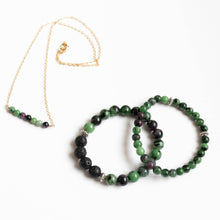 Load image into Gallery viewer, Ruby in Zoisite Skinny Stacker Gemstone Bracelet