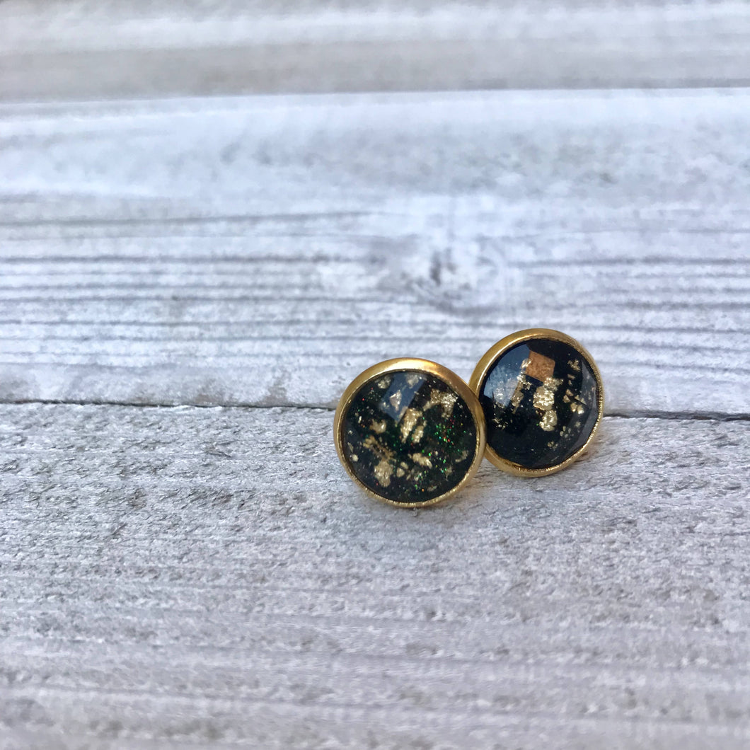 Gold Flake Stud Earrings Black