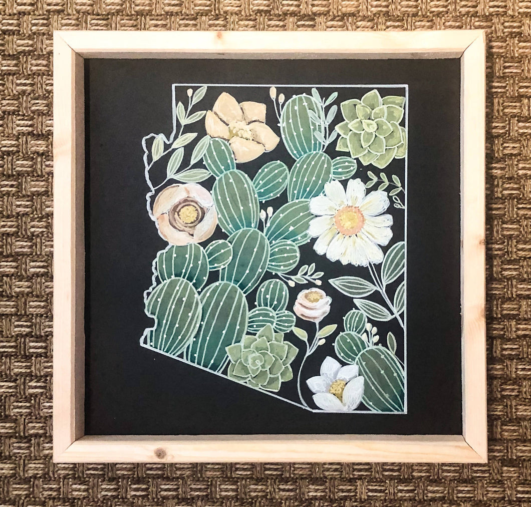 Abstract Arizona Cactus/Floral Chalk Art