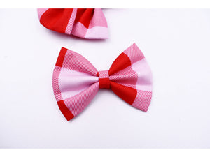 Red, white and pink plaid hair bow