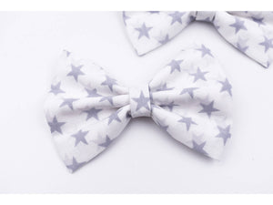 Grey and white stars hair bow