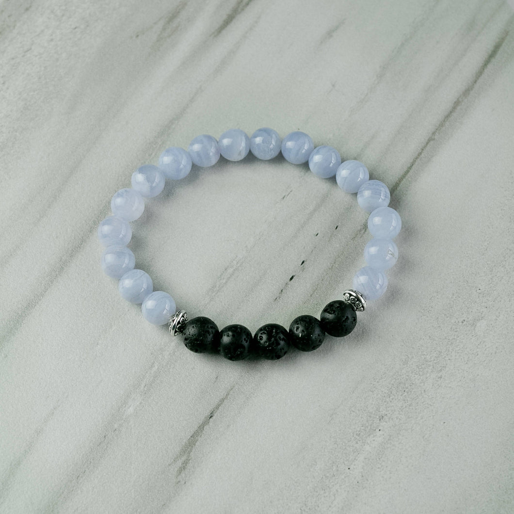 Blue Chalcedony Aromatherapy Essential Oil Diffuser Bracelet