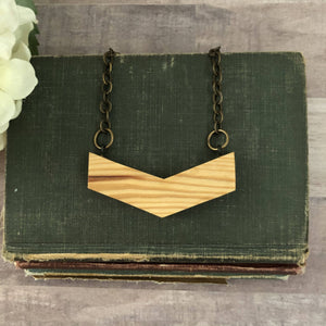 Vintage Barn Wood Large Chevron Necklace