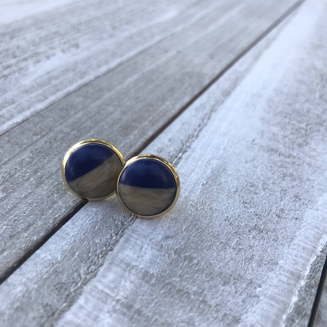 Wood/Resin Stud Earrings Blue
