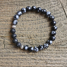 Load image into Gallery viewer, Children's Snowflake Obsidian Aromatherapy Essential Oil Diffuser Bracelet (6mm beads)