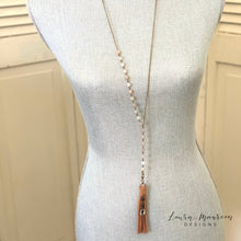 "Load image into Gallery viewer, 34"" Druzy Agate Lariat Necklace- Sara Necklace"