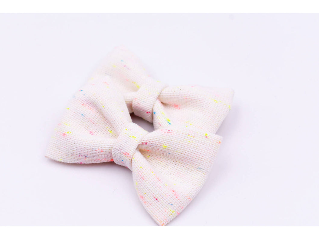Neon speckled pigtail bows