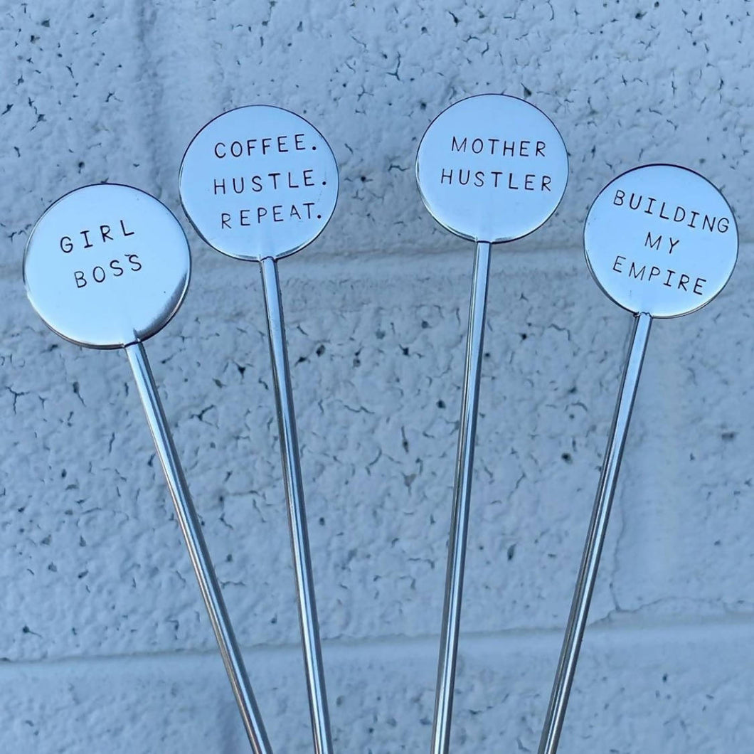 Set of 4 Coffee Stirrers - Girl Boss
