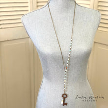 "Load image into Gallery viewer, 34"" Amazonite Lariat Necklace- Sara Necklace"
