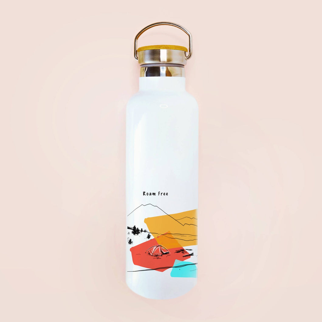 Roam Free Water Bottle with Bamboo Lid