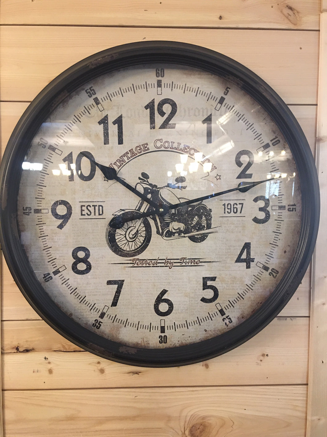 Motorcycle Motif Large Wall Clock