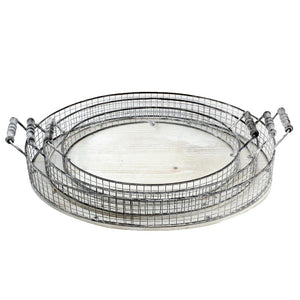 Whitewashed Wood & Metal Tray - Oval