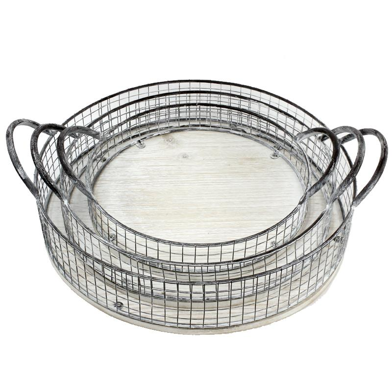 Whitewashed Wood & Metal Tray - Round