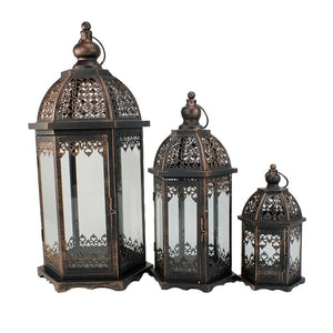 Antique Metal and Wood Candle Lantern -3 sizes