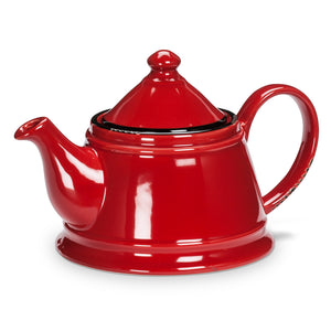 Enamel Look Red Tea Pot