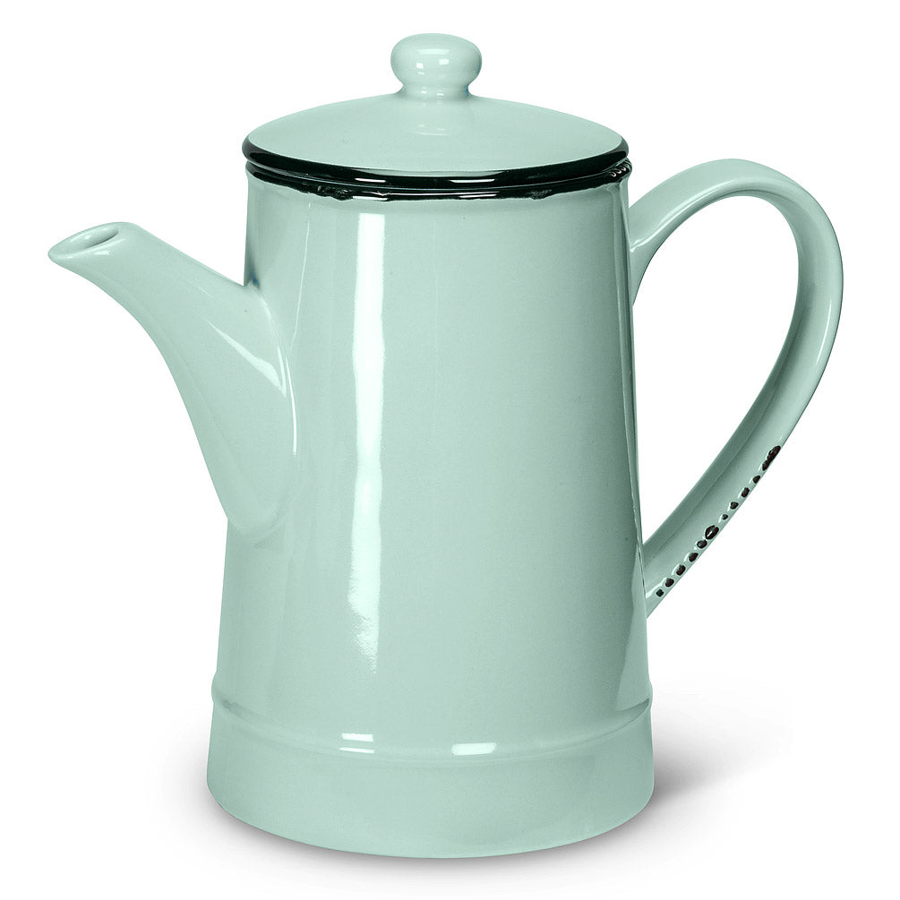 Enamel Look Tall Mint Tea Pot