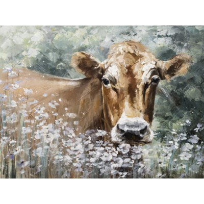 Canvas - Cow and Flowers