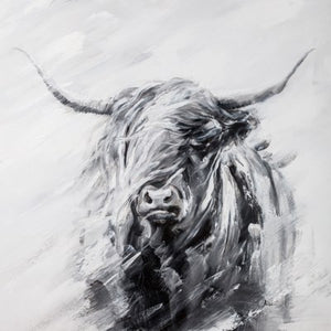 Canvas - Highland Cow White