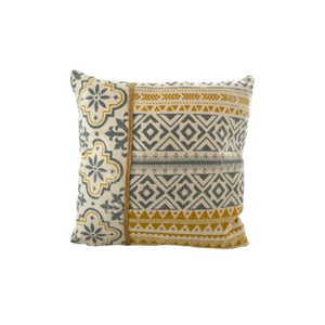 Yellow and Grey Pattern Cushion