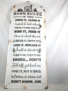 Barn Rules Metal Sign